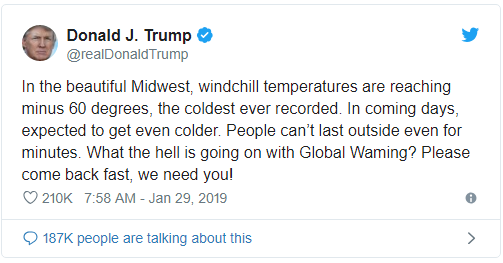 President Trump took the twitter by storm, once again by a tweet which undermined climate change. Dissecting the polar vortex fiasco